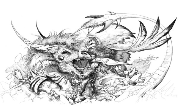 dragon eating man